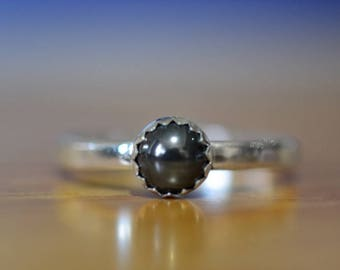 Haematite Ring, Customised Sterling Silver Ring, 5mm Natural Black Gemstone Ring, Hematite Stack Ring, Engravable Stacking Jewelry