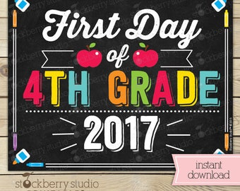 First Day of 4th Grade Sign - 1st Day of School Printable - First Day of School Sign - Photo Props - Chalkboard Sign Instant Download