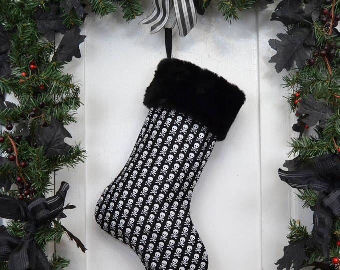 Mini Skull and Crossbones Pirate Christmas Stocking, Black and White, Black Faux Fur, Black Canvas Liner
