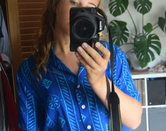 "Vintage 80's Blue geometric Boho shirt 1980s 44"""