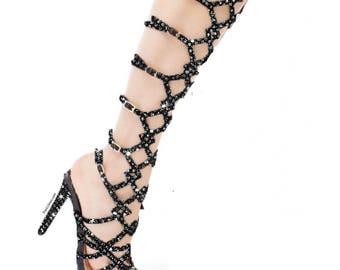 Custom Black High Heel, Swarovski Heels,Pumps customed with Swarovski ,Custom Bedazzled High Heel,Swarovski Pumps,Black high heels