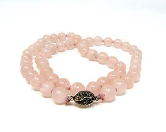 Vintage Chinese Rose Quartz Bead Necklace Silver Filigree Clasp  24 Inch