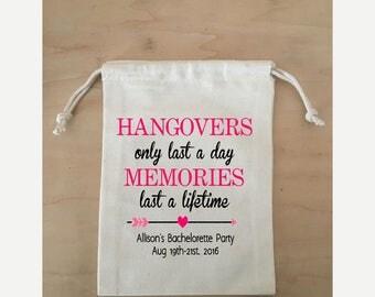 Hangover kit Bag, Bachelorette Favor Bag, Favor Bag for Bachelorette Party, Small Drawstring Bag, Drawstring Favor Bag,
