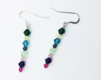 Rainbow Swarovski crystal earrings, sterling silver, gift for her, under 20