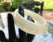 Chunky White Moonglow Lucite Bangle, ca. 1970s