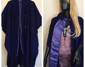 Fabulous Wool and Raw Silk Poncho in deep plum