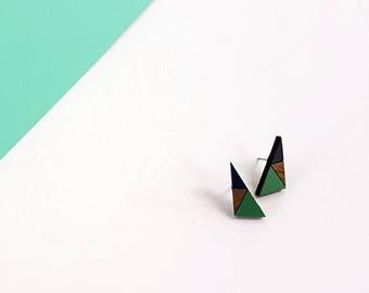 Geometric Earrings - Triangle Earrings - Wooden Earrings - Geometric Jewellery - Gifts for Women - Stocking Filler - Triangle Studs - Shapes