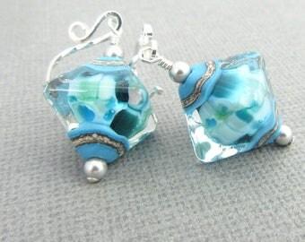 Ocean earrings, Beach jewelry gift, Beach earrings, Blue green earrings, Aqua earrings, Beach wedding earrings,Sea earrings,Lampwork jewelry