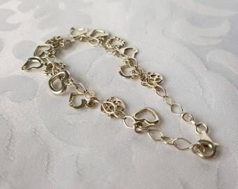 Sterling Silver Heart Charm Bracelet, Sterling Heart Charm Bracelet, Sterling Bracelet, Sterling Silver Bracelet, Bracelet