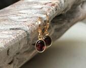 Garnet Earrings, Gold Garnet Earrings, Gold Garnet Oval Earrings, Garnet Oval Earrings, Garnet Earrings Gold, Garnet