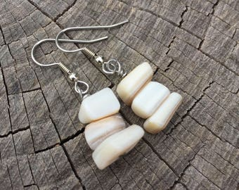 White Mother of Pearl Shells . Earrings