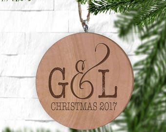 Couple's Initials Wood Ornament - Personalized Ornament - Engraved Wooden Gift Tag - Engraved Wooden Christmas Ornament