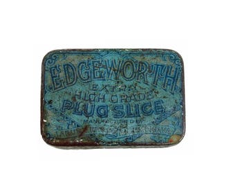 Edgeworth Plug Slice Tobacco Advertising Tin Vintage Tobacciana Advertising Tin Vintage Americana Hinged Tin Container ACTTEAM