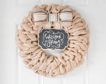 Spring Wreaths for Front Door, Front Door Wreaths, Easter Wreath Burlap Farmhouse Wreath, Spring Front Door Decor