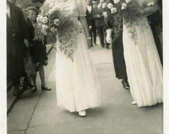 "Vintage Photo ""Always the Bridesmaids"" Snapshot Antique Black & White Photograph Paper Found Ephemera Vernacular Interior Design Mood - 58"