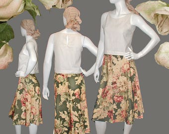 Vintage 80s RARE Original Banana Republic Safari and Travel Clothing Co, Gorgeous Floral Print Skirt Size 10 - Mint Condition