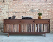 Mid Century Inspired Hand Crafted Record Cabinet // Vinyl Storage //  Walnut - Holds 425+ records