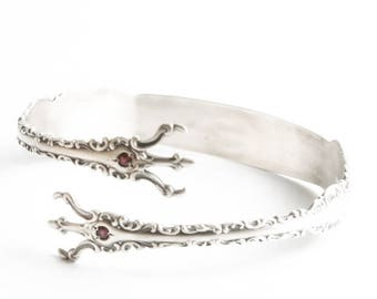 Silver Ruby Bracelet, Louis XV Whiting, Sterling Silver Sugar Tong Bracelet, Buttercup Jewelry, Adjustable Bangle Bracelet, Gift Her (6881)