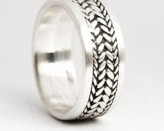Braided Sterling Pinky Ring, Sterling Silver Ring Silver Ring, Braided Ring, Ring Size 5, Unique Silver Pinky Ring, Wide Pinky Ring (V6949)