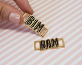 Bim bam lace locks for sneakers black enamel and gold plated
