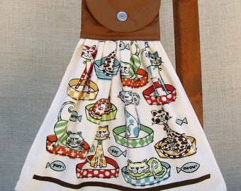 Cat Themed Kitchen Towel, Cat Lover Gift, Towel with Cats, Hanging Hand Towel, Hanging Towel, Kitchen Towels