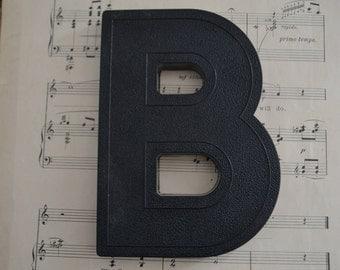 Vintage Salvage Industrial Signage Plastic Black Capital Letter B
