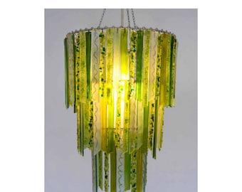 Titania Woodland Green Three Tier Chandelier - Glass Chandelier - Green Chandelier - Glass Lighting - Pendant Light - Light Fixture - Decor