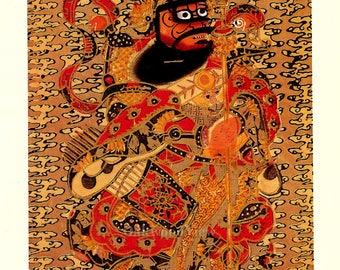 Door Guardian #2, Chinese New Year Print, Vintage 8x10 Asian Book Art, Yang-liu-ch'ing, Feng Shui, FREE SHIPPING