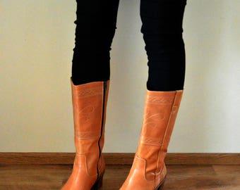 Heels Boots Women Size US 9 EU 40 Tan Leather High Boots