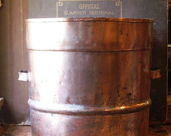 Huge Vintage Industrial Copper Pot with Drainage Holes and Side Handles - The Perfect Outdoor Planter!