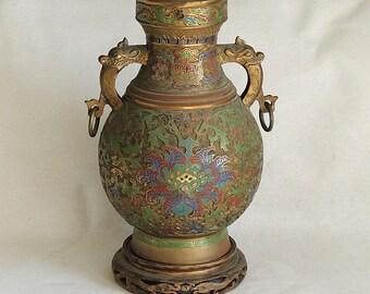 "Large 15.5"" Antique Japanese Bronze & Cloisonne Enamel Vase.. Figural Dragon Handles"
