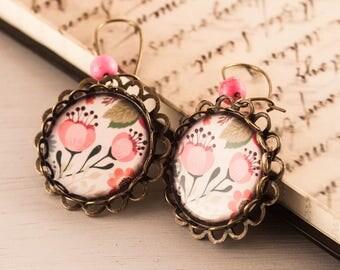 Floral Cameo Earrings, Flower Earrings, Nature Inspired Earrings, Pink Earrings, Gift For Her, Dangle Earrings, Japanese Floral Earrings