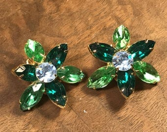 Gorgeous Shades Of Emerald And Peridot Rhinestone Floral Earrings