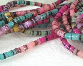 220 Shell Beads Multicolor Dyed Heishi Small Round 5mm - 23 inches Natural Beads for DIY Projects