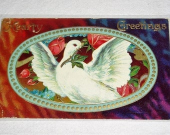 Antique Postcard, Salesman's Sample, Hearty Greetings, Dove & Roses