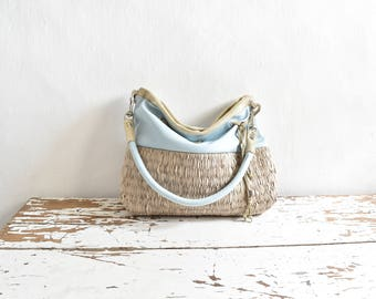 Pale Blue Leather and Beige Weave Purse with Shimmer details - Ready to Ship - One of a Kind Original