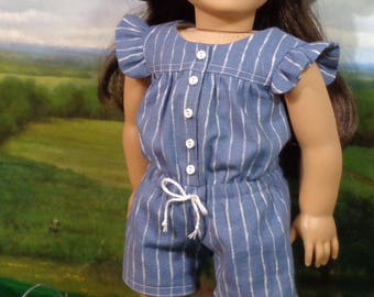 Blue Summer Romper and Hat for 18 inch Girls