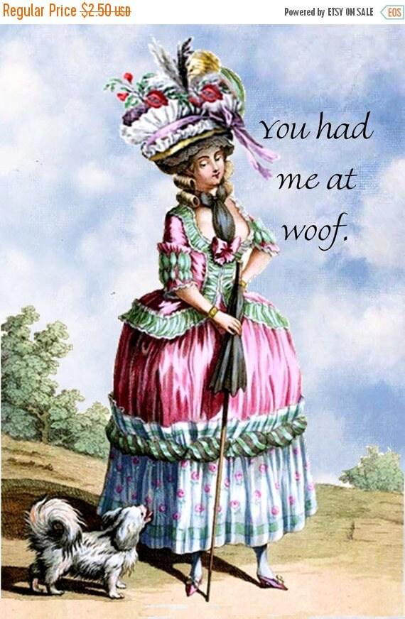 Dog Lover Gifts. Woof. Dog. Dogs. Marie Antoinette. Marie Antoinette Card. Postcard. Dog Card. Doggie. Puppies.Marie Antoinette Dog.