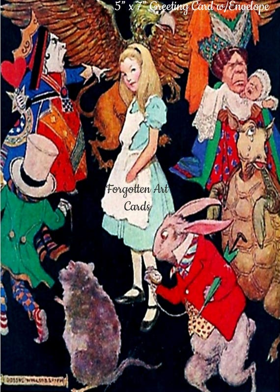 """Alice In Wonderland, 5""""x7"""" Greeting Card with Envelope,  Jessie Willcox Smith, Forgotten Art Cards, Pretty Girl Postcards"""