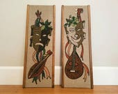 Vintage Mid Century Modern 1950s Gravel Art Panels Set of 2 Wall Hanging Joker Strings Mosaic Theatrical Comedy and Tragedy Masks Pebble Art