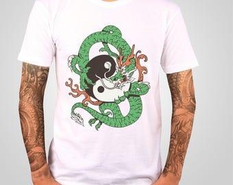 Yin Yang Dragon T Shirt , Chinese Dragon Shirt , Mens T Shirt , Graphic Tee , Dragon Gift , American Apparel TShirt , Art To Wear
