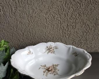 Sepia Rose Vegetable Bowl Johann Haviland Bavaria Vintage Pink Gray Floral China - #R0082