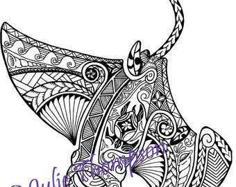 manta ray tattoo colouring page. manta ray poisonous tail coloring ...