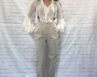 Vintage 80s Jordache Khaki Baggy Suspender Pants S M Pleated Tapered Pockets Braces Chinos Menswear Paper Bag Trousers