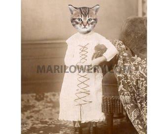 Cat in Dress Art Print, 8 x 10 Print, Animal in Clothes, Cute Tabby Cat Art, Animal Wall Decor, Nursery Decor, frighten
