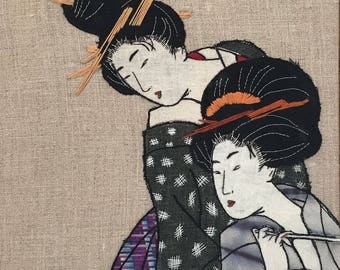 Japanese Art Embroidery , framed with White Oak Wooden Frame.