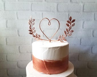 Heart with Laurel - Wedding Cake Topper - Wire Cake Topper - Laurel Cake Topper - Heart - Rustic Chic - Copper - Gold - Rose Gold