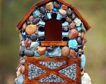 Mosaic birdhouse modern farmhouse aqua blues and rustic birdhouse blue mosaic colorful stone bird house garden decor happy always mosaic art