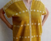 """Mexican huipil two-panel blouse handwoven naturally dyed Amuzgo Oaxaca boho resort Frida Kahlo 22"""" w x 28""""L"""