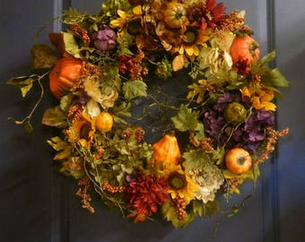 Fall Wreath , Autumn Wreath ,  Fall Door Wreath , Woodland Wreath , Wreath , Thanksgiving Wreath , Harvest Wreath , Rustic Wreath